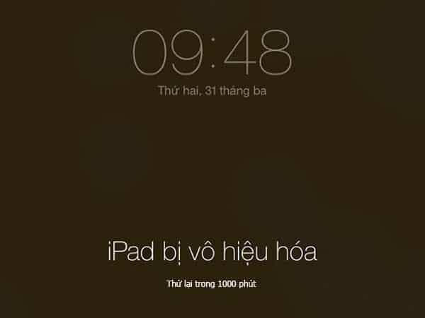 iphone bị vô hiệu hóa