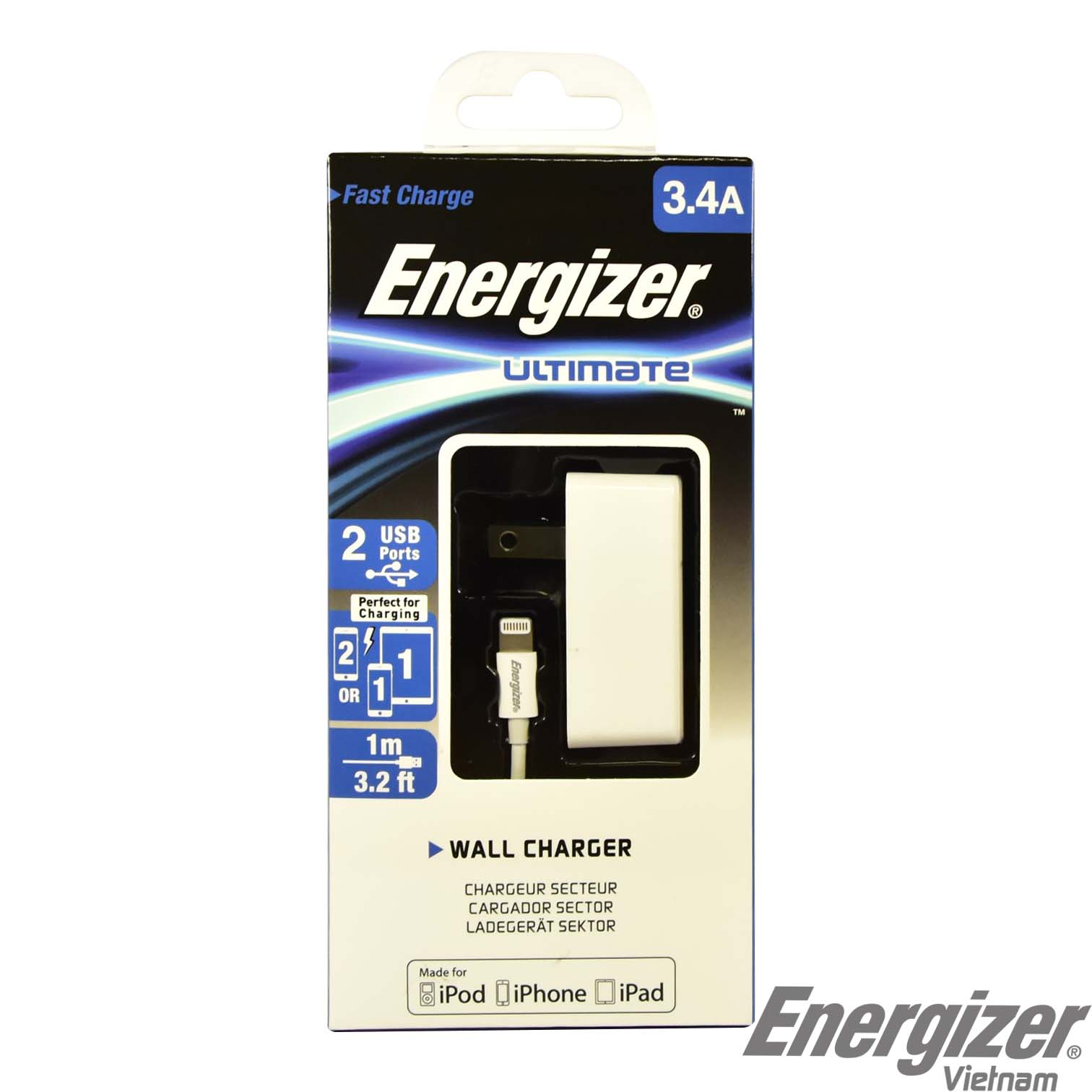Sạc Energizer Wall 3.4A (kèm cable Lightning): 2 cổng tiện ích, sạc nhanh hình 1