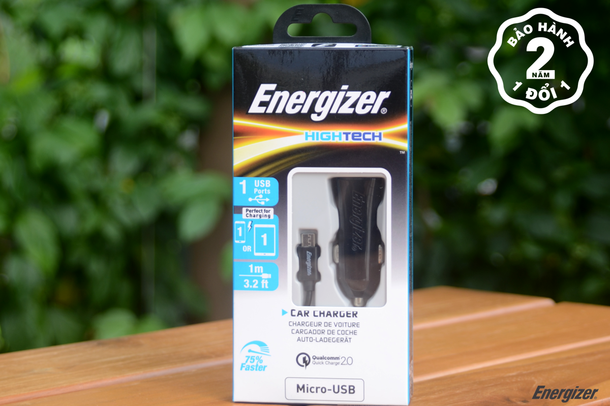 sạc xe hơi Energizer QC2.0 (kèm cáp Micro USB) DCA1QHMC3