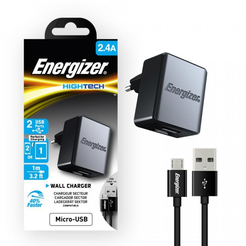 Sạc Energizer Wall 2.4A (kèm cable Micro USB)