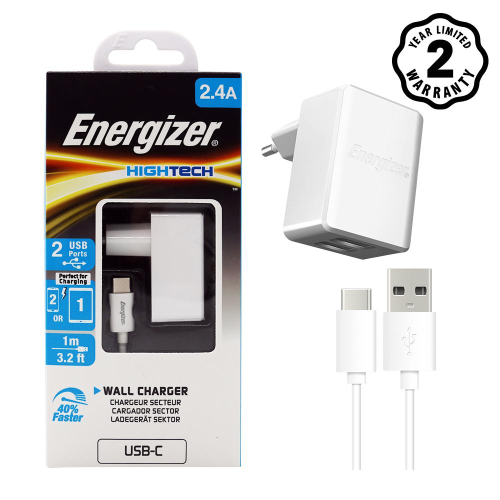 Sạc Energizer 2 cổng 2.4A EU (kèm cáp Lightning)