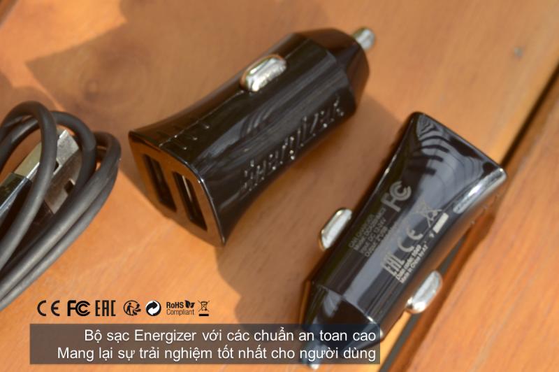 Sạc xe hơi Energizer 2.4A 2 cổng USB (kèm cáp Type C) DCA2BHC23