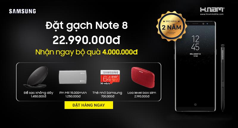 Đặt gạch Galaxy Note 8: nhận ngay quà 4 triệu, bảo hành 2 năm, bảo hiểm rơi vỡ, trả góp 0% hình 1