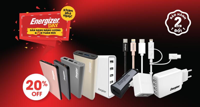 Energizer Day: Giảm 20% pin dự phòng, cáp sạc cao cấp thương hiệu Energizer hình 1