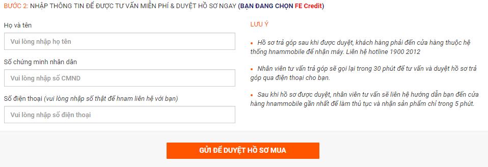Hướng dẫn mua hàng trả góp trên website Hnam Mobile hình 5