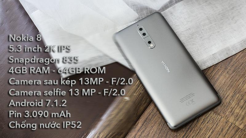 Đặt trước Nokia 8: giảm 2 triệu, tặng thêm pin dự phòng 1.2 triệu hình 1