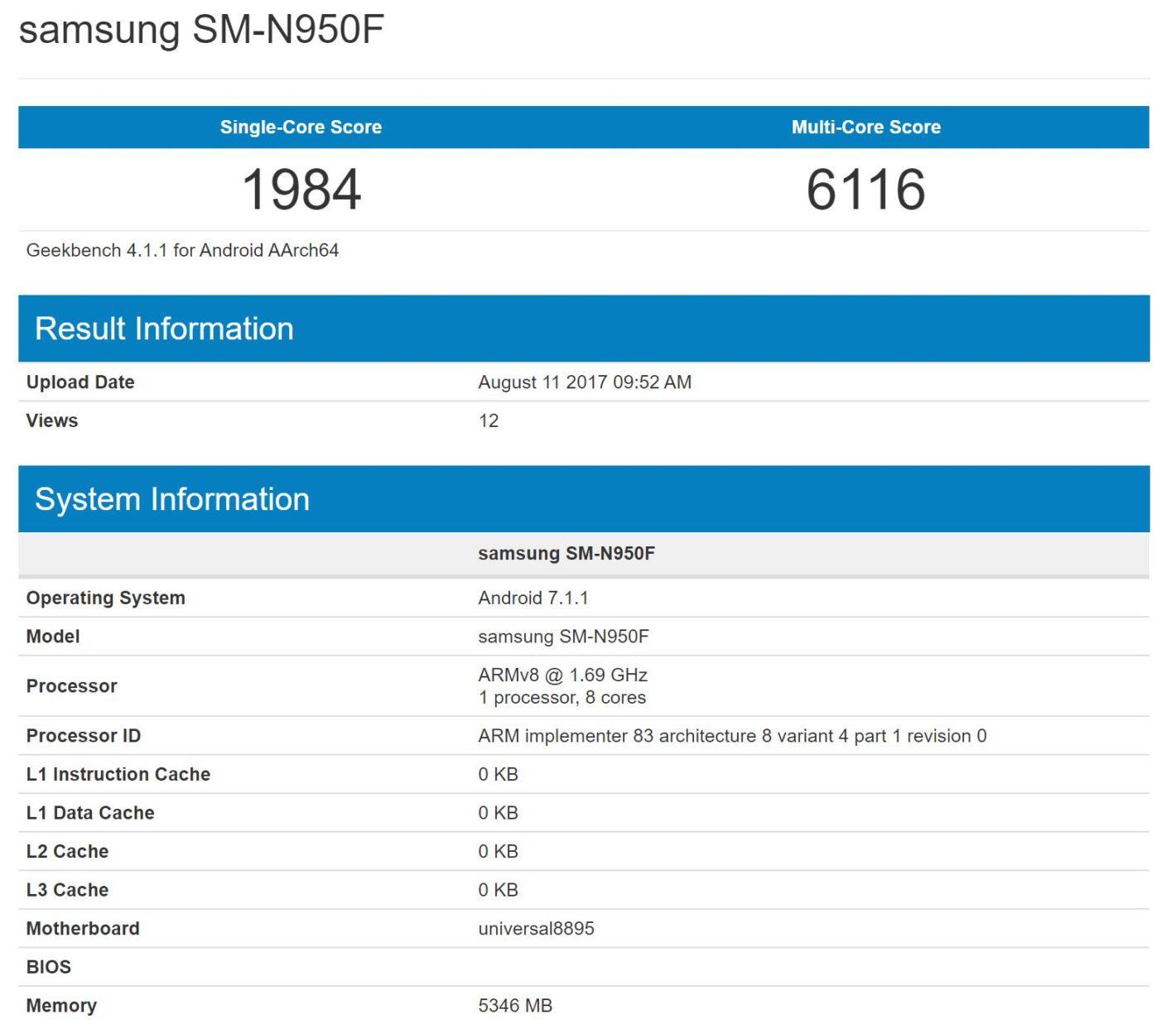Galaxy Note8 lộ điểm Geekbench, xác nhận sẽ có 6GB RAM hình 2