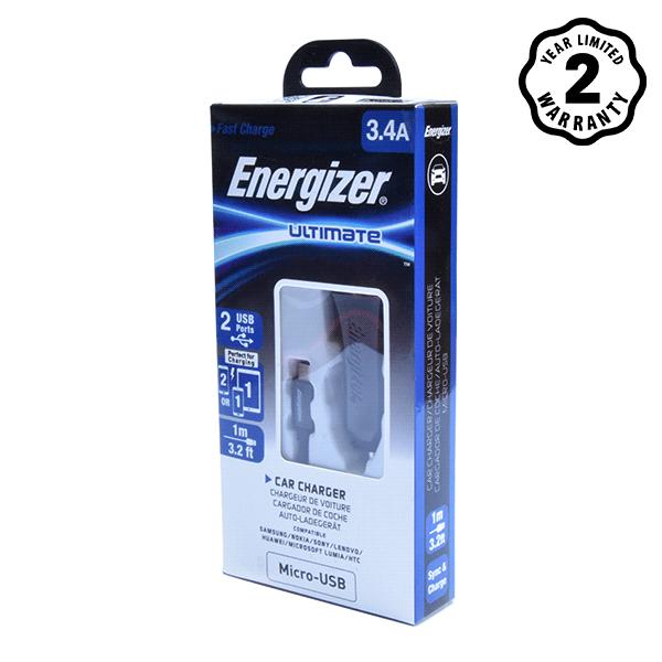 Sạc xe hơi Energizer 3.4A 2 cổng USB (kèm cáp USB) hình 2