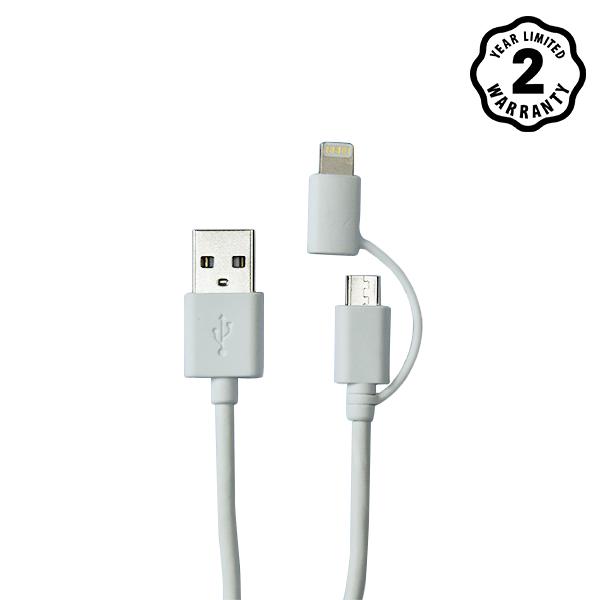 Cáp Energizer 2 cổng Lightning-Micro USB C11UBDUGWH4 (1m) hình 0