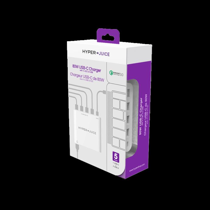 Sạc Hyper Juice 80W (Type-C & 4 USB) QC 3.0 hình 3