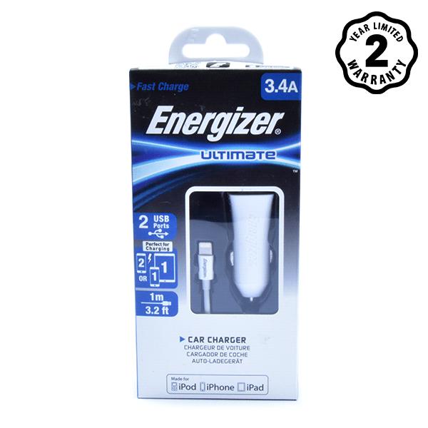 Sạc xe hơi Energizer 3.4A 2 cổng USB (kèm cáp lightning) hình 2