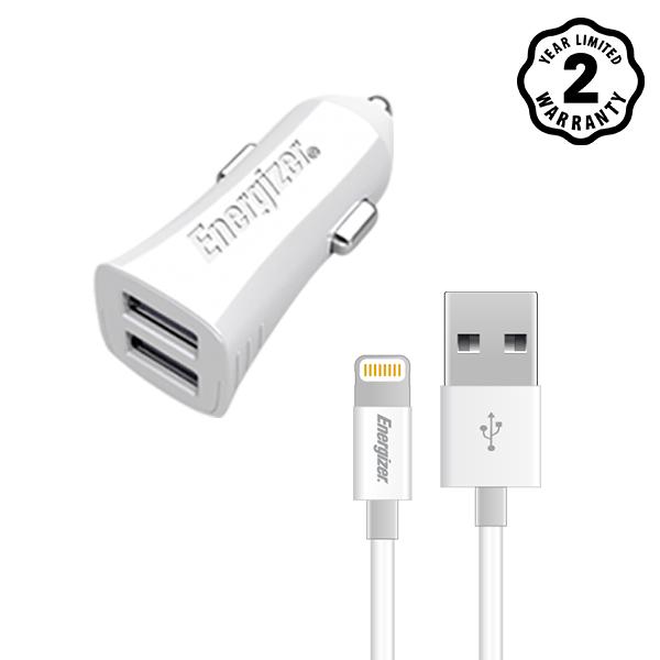 Sạc xe hơi Energizer 3.4A 2 cổng USB (kèm cáp lightning) hình 0