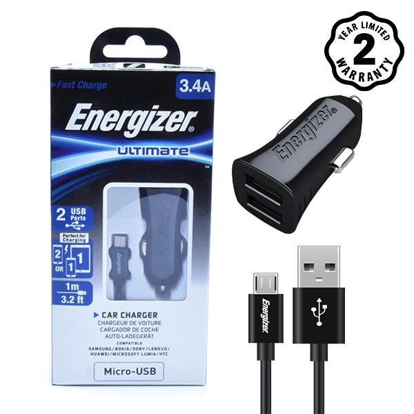 Sạc xe hơi Energizer 3.4A 2 cổng USB (kèm cáp USB) hình 3
