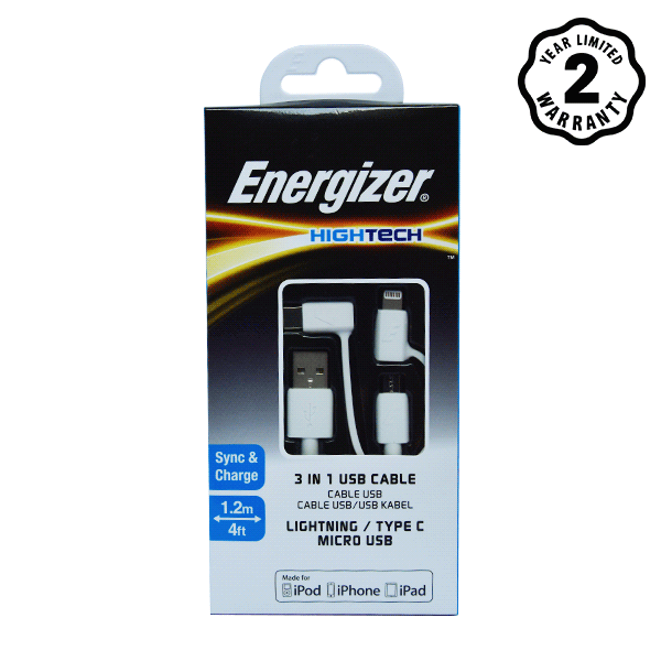 Cáp Energizer 3 in 1 Lightning-Micro-Type C C11UBX3CFWH4 (1m) hình 0