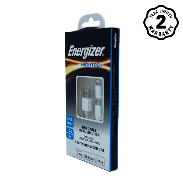 Cáp Energizer 2 cổng Lightning-Micro USB C11UBDUGWH4 (1m) hình 2