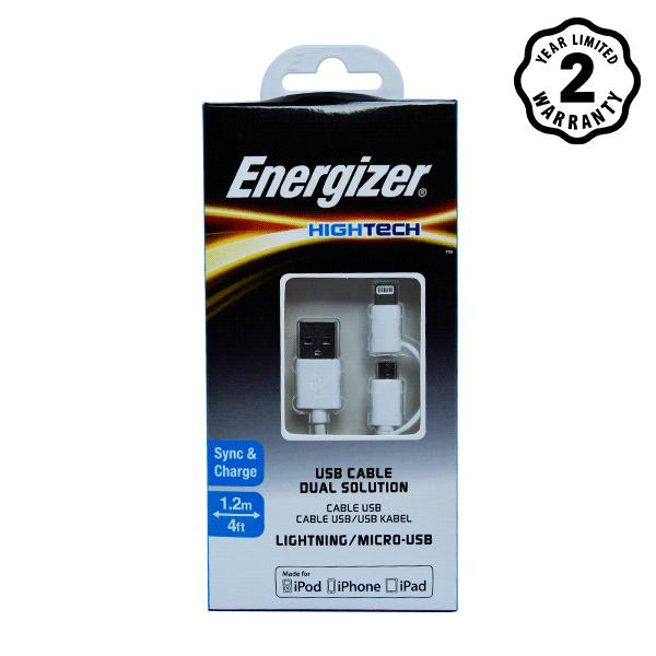Cáp Energizer 2 cổng Lightning-Micro USB C11UBDUGWH4 (1m) hình 1