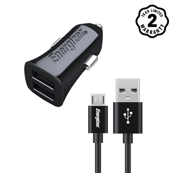 Sạc xe hơi Energizer 3.4A 2 cổng USB (kèm cáp USB) hình 0