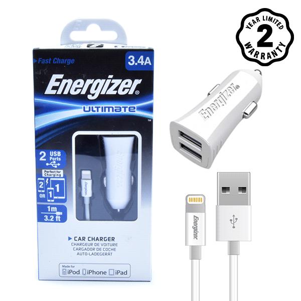 Sạc xe hơi Energizer 3.4A 2 cổng USB (kèm cáp lightning) hình 3