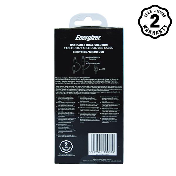 Cáp Energizer 2 cổng Lightning-Micro USB C11UBDUGWH4 (1m) hình 3