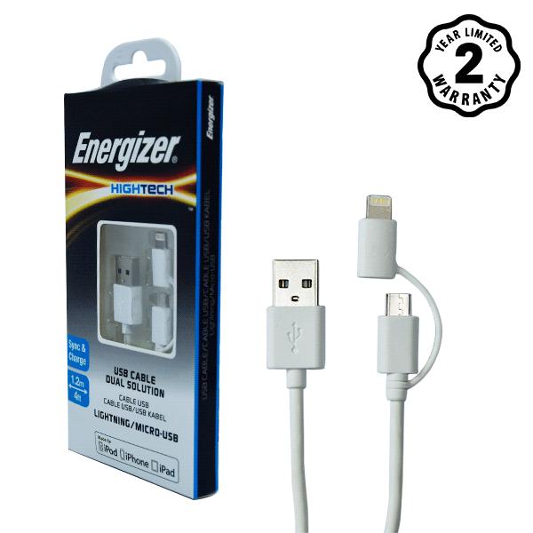 Cáp Energizer 2 cổng Lightning-Micro USB C11UBDUGWH4 (1m) hình 4