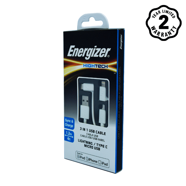 Cáp Energizer 3 in 1 Lightning-Micro-Type C C11UBX3CFWH4 (1m) hình 1
