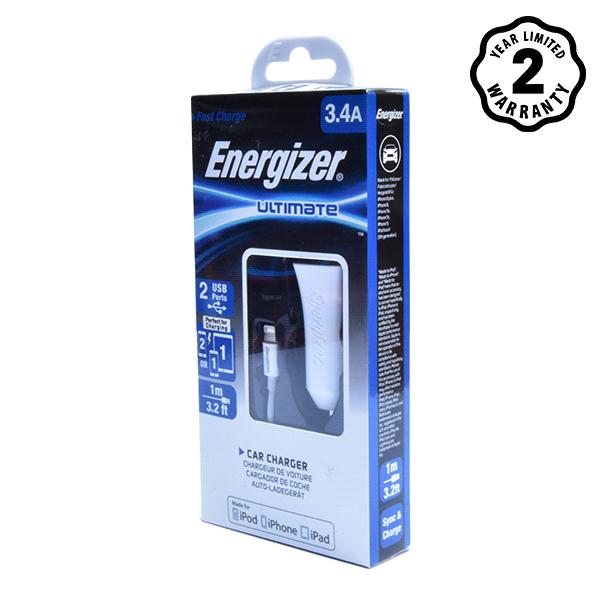 Sạc xe hơi Energizer 3.4A 2 cổng USB (kèm cáp lightning) hình 1