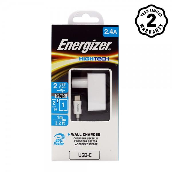 Sạc Energizer 2 cổng HT2.4A (kèm cáp Type-C)- ACW2BEUHC23 hình 1