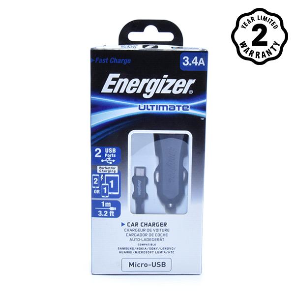 Sạc xe hơi Energizer 3.4A 2 cổng USB (kèm cáp USB) hình 1