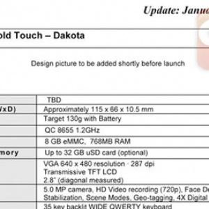 Lộ cấu hình đầy đủ của BlackBerry Bold Touch