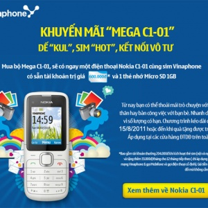 Mua Nokia C1-01 tại Hnam Mobile tặng sim tài khoản 600.000đ
