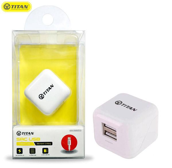 Sạc TITAN SC02 2 cổng USB (2.4A, kèm cáp Lightning) hình 2