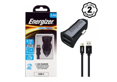 Sạc xe hơi Energizer 2.4A 2 cổng USB (kèm cáp Type C) DCA2BHC23 hình 2