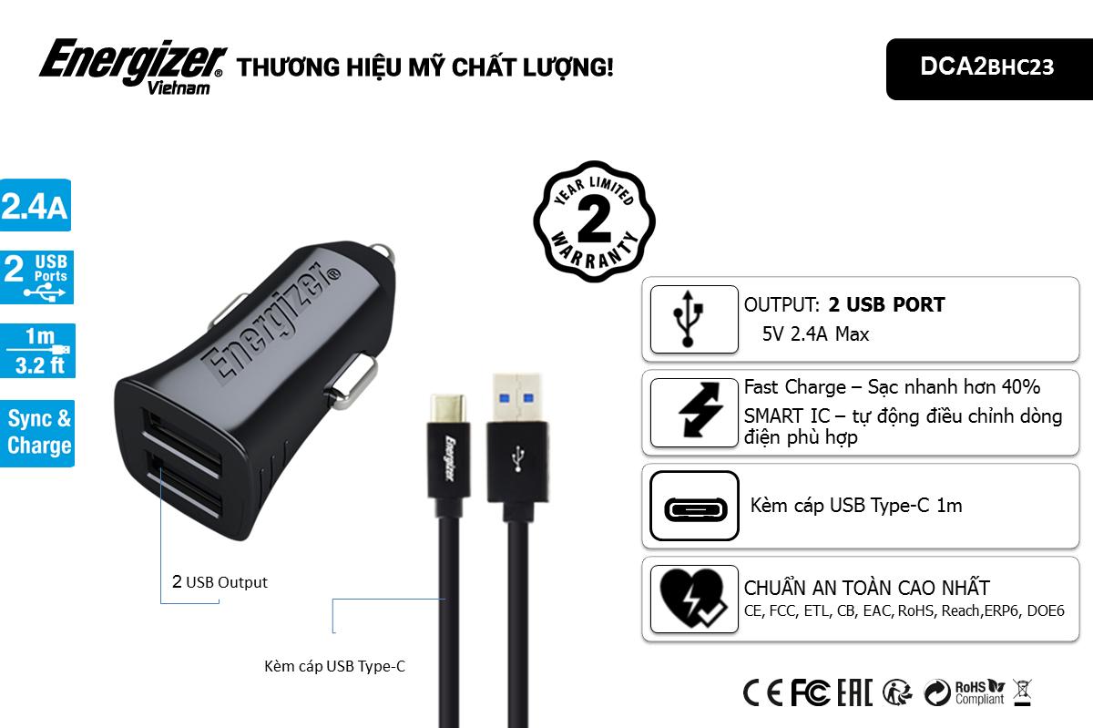 Sạc xe hơi Energizer 2.4A 2 cổng USB (kèm cáp Type C) DCA2BHC23 hình 1