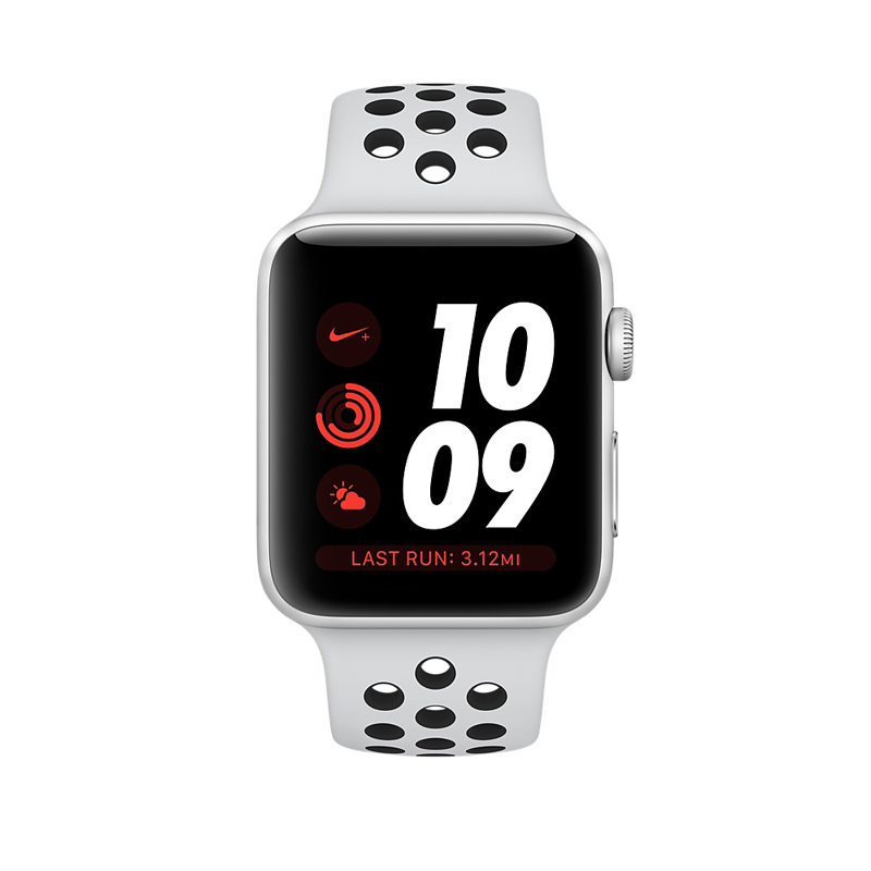 Apple Watch Series 3 42mm Silver Aluminum Case with Pure Platinum/Black Nike Sport Band MQL32 hình 1