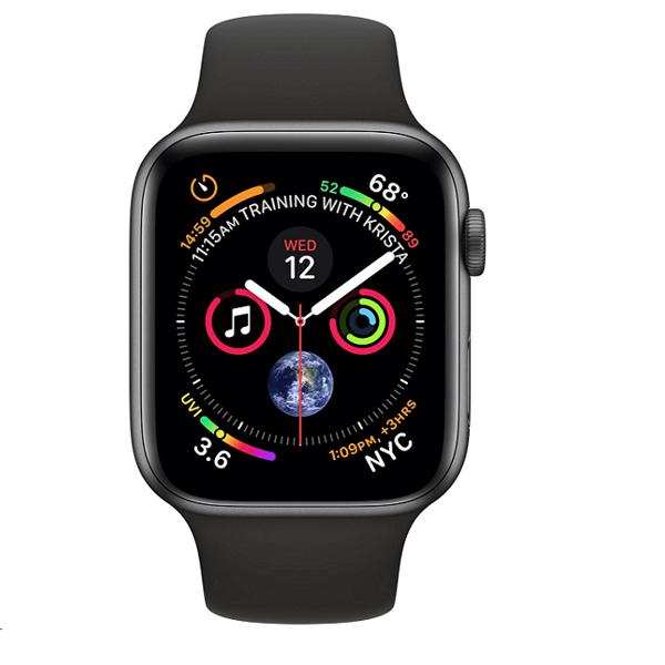 Apple Watch Series 4 44mm GPS Aluminum Case with Black Sport Band MU6D2 hình 1