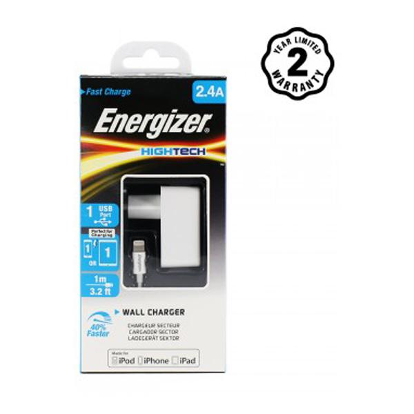 Sạc Energizer 2 cổng 2.4A EU (kèm cáp Lightning) ACA1BEUHLI3 hình 1