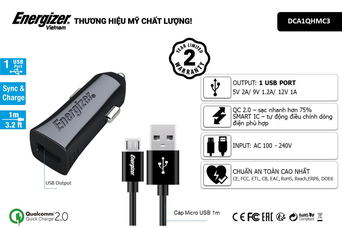 Sạc xe hơi Energizer QC2.0 (kèm cáp Micro USB) DCA1QHMC3 hình 2