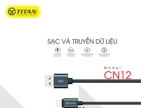 Cáp TITAN Lightning dây dù CN12 (25cm) hình 0