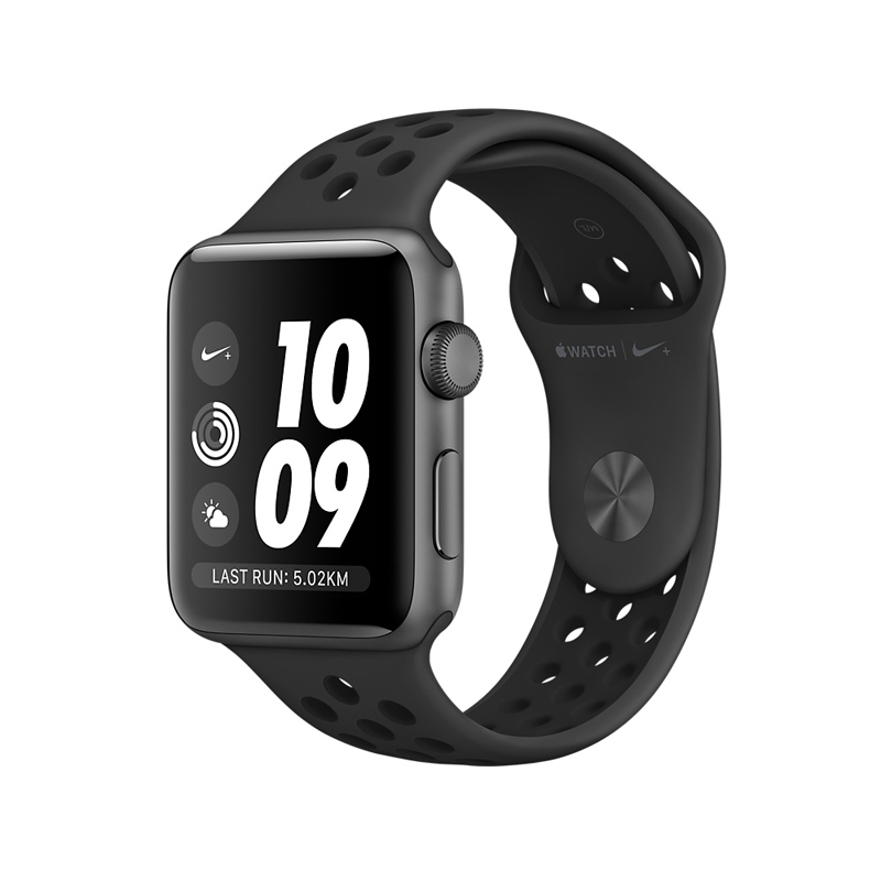 Apple Watch Series 3 38mm Gray Aluminum Case with Anthracite/Black Nike Sport Band MQKY2 hình 0