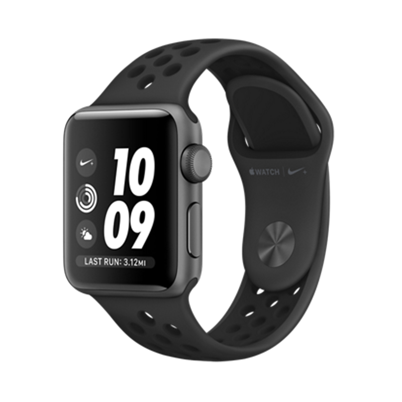 Apple Watch Series 3 42mm Gray Aluminum Case with Anthracite/Black Nike Sport Band MQL42 hình 0