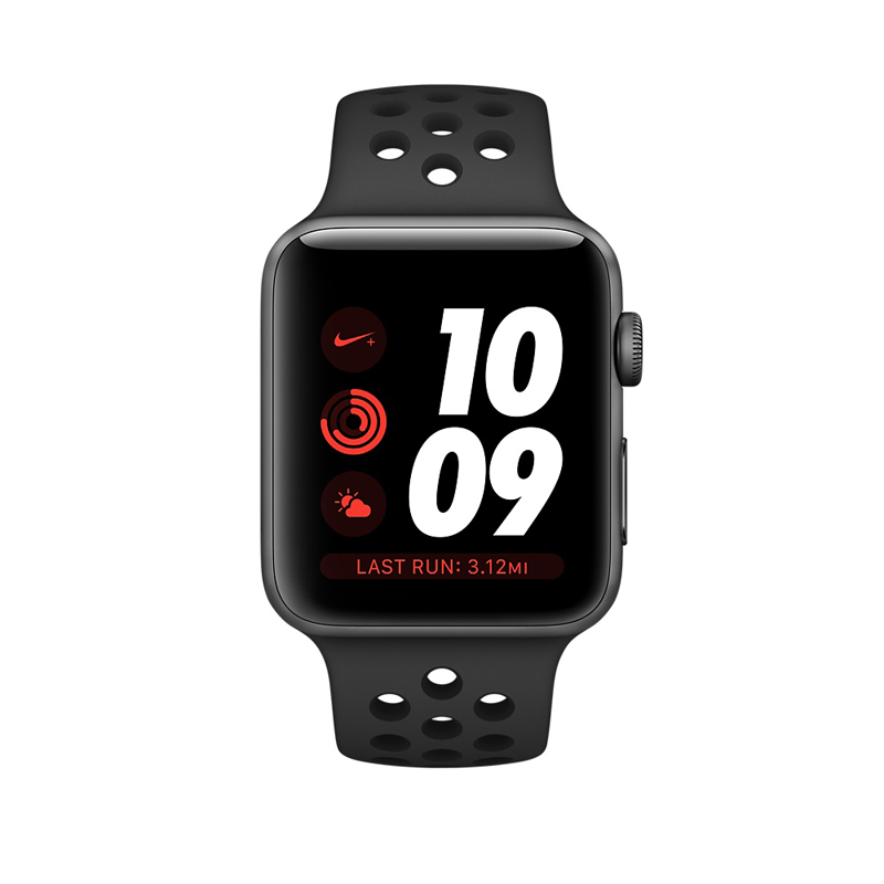 Apple Watch Series 3 42mm Gray Aluminum Case with Anthracite/Black Nike Sport Band MQL42 hình 1