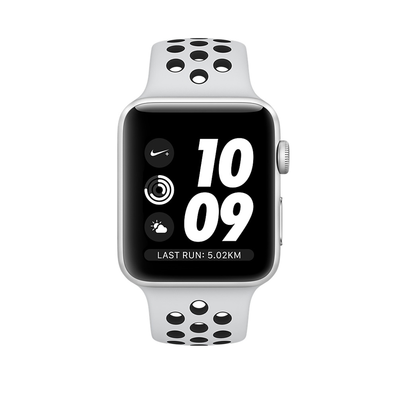 Apple Watch Series 3 38mm Silver Aluminum Case with Pure Platinum/Black Nike Sport Band MQKX2 hình 1