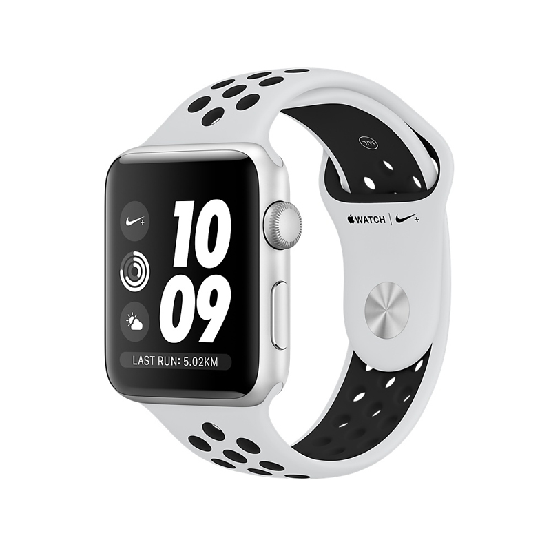 Apple Watch Series 3 38mm Silver Aluminum Case with Pure Platinum/Black Nike Sport Band MQKX2 hình 0
