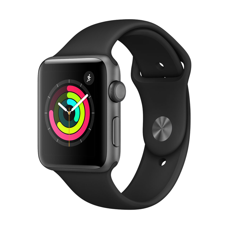 Apple Watch Series 3 42mm Gray Aluminum Case with Black Sport Band MQL12 hình 2