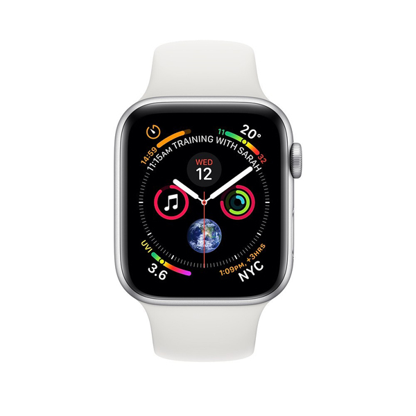 Apple Watch Series 4 44mm GPS Aluminum Case witch White Sport Band MU6A2 hình 1