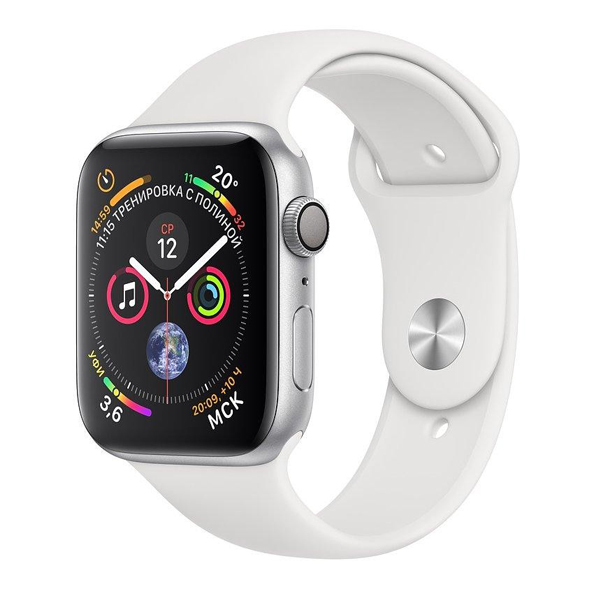 Apple Watch Series 4 44mm GPS Aluminum Case witch White Sport Band MU6A2 hình 0
