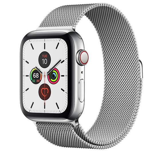 Apple Watch Series 5 44mm LTE Silver Stainless Steel Case with Milanese Loop Silver MWW32 hình 0