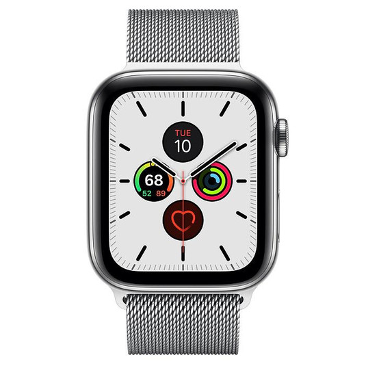 Apple Watch Series 5 44mm LTE Silver Stainless Steel Case with Milanese Loop Silver MWW32 hình 1