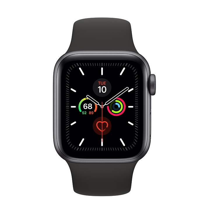 Apple Watch Series 5 44mm GPS Space Gray Aluminum Case with Sport Band Black MWVF2 hình 2