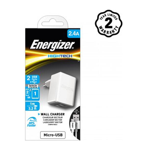 Sạc Energizer 2 cổng HT2.4A (kèm cáp Micro) ACW2BEUHMC3 hình 1